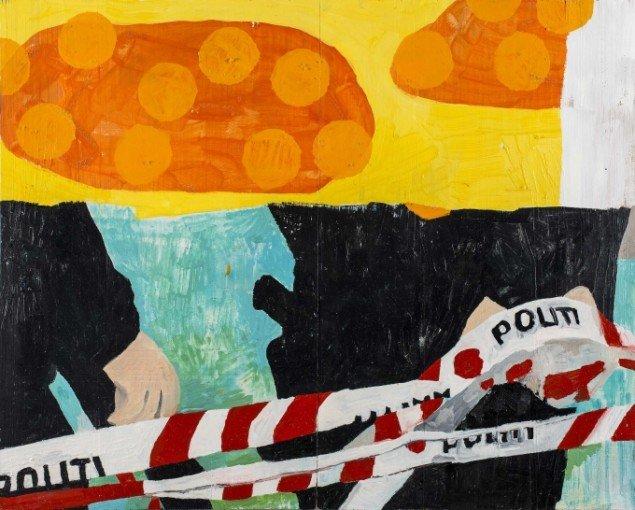 Linda Bjørnskov: Afspærring, 2013-2014. Olie på træbrædder, 46 x 58 cm. På Fina Kamara's Story and me, Vendsyssel Kunstmuseum. Courtesy Linda Bjørnskov