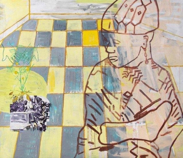 Linda Bjørnskov: Returned to plant peanuts when RUF surprised us with shots and more, 2014. Olie på lærred, tråd, 179 x 210 cm. På Fina Kamara's Story and me, Vendsyssel Kunstmuseum. Courtesy Linda Bjørnskov