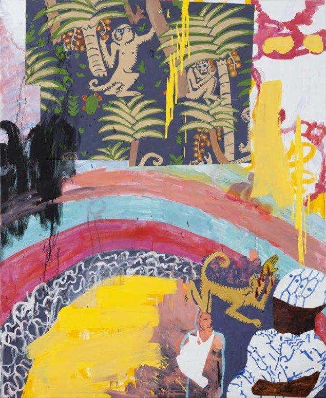 Linda Bjørnskov: Fina Kamara and me, 2013. Akryl, olie på lærred, 135 x 110 cm. På Fina Kamara's Story and me, Vendsyssel Kunstmuseum. Courtesy Linda Bjørnskov