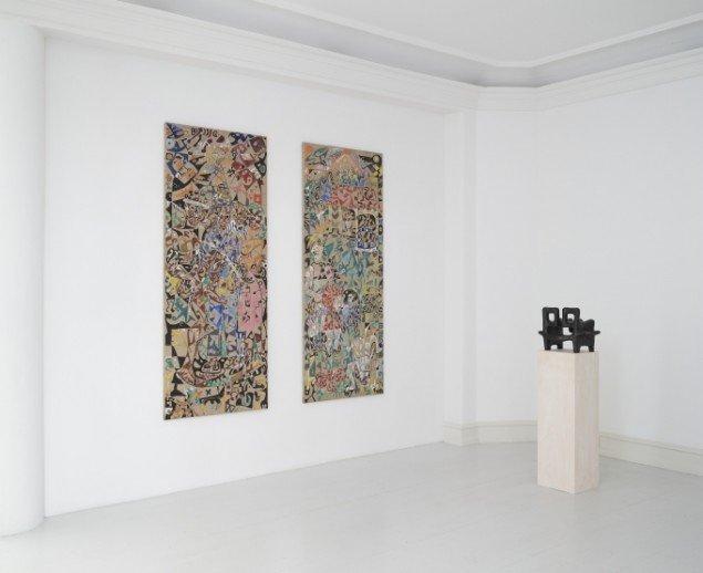 Udstillingsview med værker af Wonga Mancoba på African contemporary art, Galerie Mikael Andersen. Foto: Jan Søndergaard