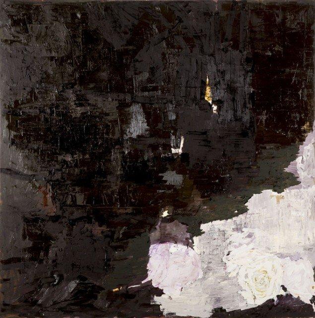 Kehnet Nielsen: The Darkland Sketches I, 2014. Olie på lærred, 200 x 200 cm. På The Darkland Sketches, Galleri Susanne Ottesen. Foto: Hans Ole Madsen