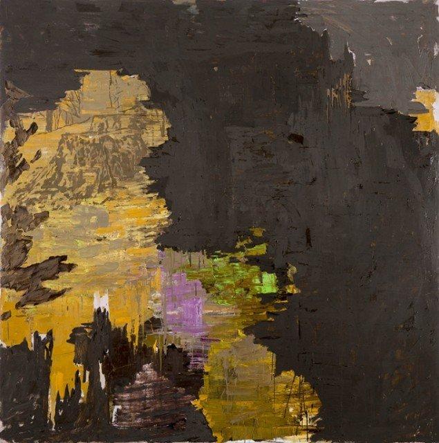 Kehnet Nielsen: The Darkland Sketches III, 2014. Olie på lærred, 200 x 200 cm. På The Darkland Sketches, Galleri Susanne Ottesen. Foto: Hans Ole Madsen