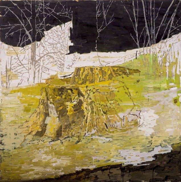 Kehnet Nielsen: The Darkland Sketches IV, 2014. Olie på lærred, 200 x 200 cm. På The Darkland Sketches, Galleri Susanne Ottesen. Foto: Hans Ole Madsen