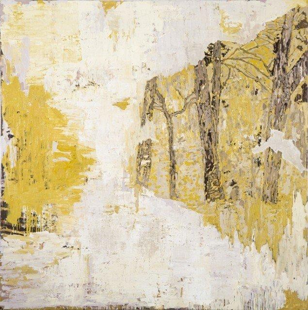 Kehnet Nielsen: The Darkland Sketches VII, 2014. Olie på lærred, 200 x 200 cm. På The Darkland Sketches, Galleri Susanne Ottesen. Foto: Hans Ole Madsen