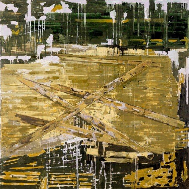 Kehnet Nielsen: The Darkland Sketches IX, 2014. Olie på lærred, 200 x 200 cm. På The Darkland Sketches, Galleri Susanne Ottesen. Foto: Hans Ole Madsen