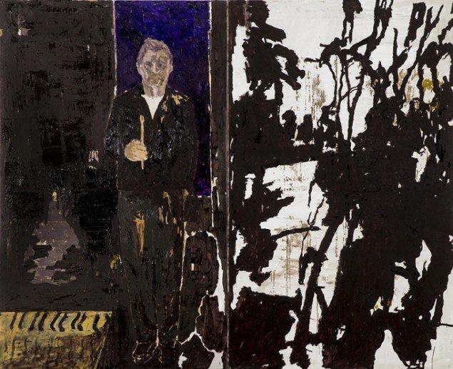 Kehnet Nielsen: The Darkland Sketches V, 2014. Olie på lærred, 200 x 250 cm. På The Darkland Sketches, Galleri Susanne Ottesen. Foto: Hans Ole Madsen