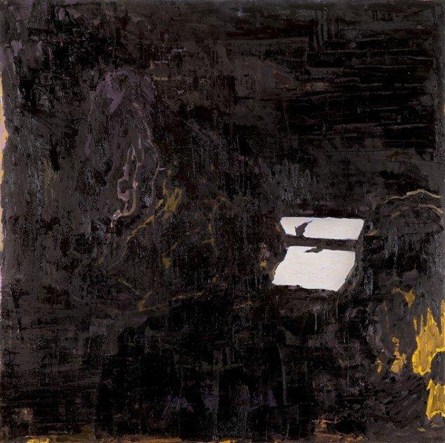 Kehnet Nielsen: The Darkland Sketches XVII, 2014. Olie på lærred, 150 x 150 cm. På The Darkland Sketches, Galleri Susanne Ottesen. Foto: Hans Ole Madsen