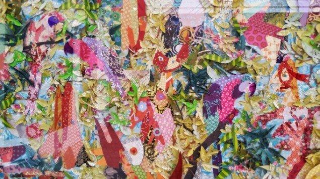 Tanja K. Jensen: Uden titel, 2014. Collage/papirklip. På Jorn Lab, KunstCentret Silkeborg Bad. Foto: Johanne Daugaard Løkke