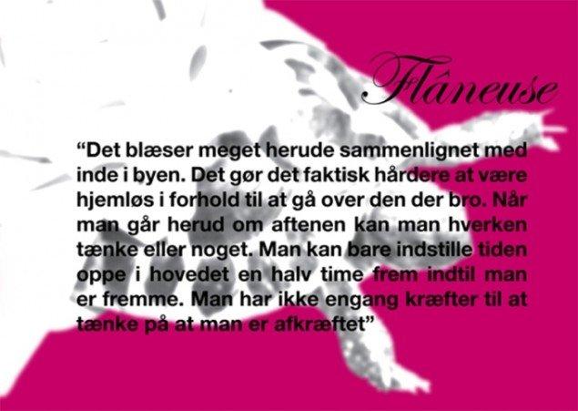 Mette Kit Jensen: Flâneuse, plakat fra byrumsprojekt, Alt_Cph 10 –In Space, København 2010. Grafik Tine Kjølsen.