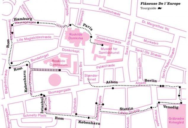 Mette Kit Jensen: Flâneuse de l'Europe, audiowalk. Museet for Samtidskunst, Roskilde 2014. (Grafik: Pulsk Ravn)