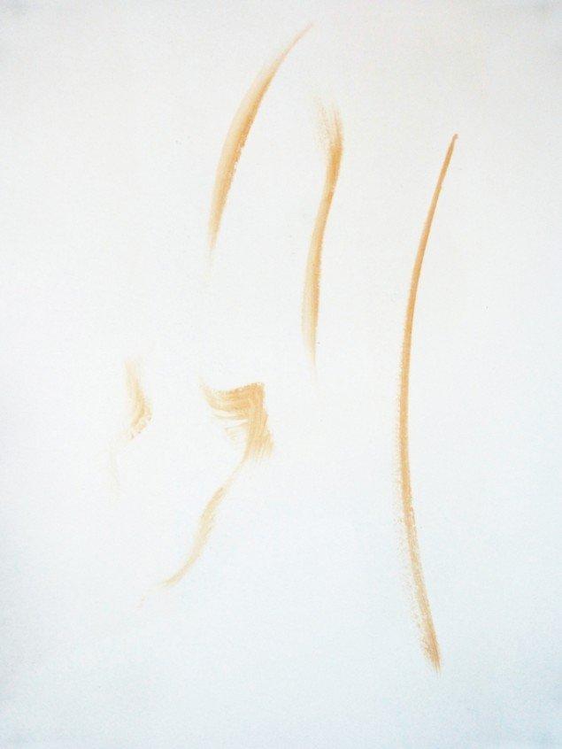 Stefania Batoeva: Majestic Bather. Detajle. Akryl på væg. På gruppeudstilling m. Stefania Batoeva, Esmerelda V. Lindström, Saskia Te Nicklin, 68 Square Metres. Foto: 68 Square Metres