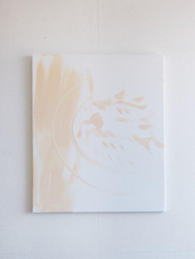 Stefania Batoeva: Deer Disc. Akryl på lærred. På gruppeudstilling m. Stefania Batoeva, Esmerelda V. Lindström, Saskia Te Nicklin, 68 Square Metres. Foto: 68 Square Metres