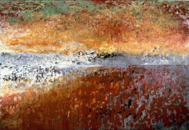 Merete Barker: My own Town. Byen under. Byen over., 1989. Akryl på lærred, 360 x 520 cm. På Different Worlds - Different Fields, VejleMuseerne - Kunstmuseet. Foto: VejleMuseerne - Kunstmuseet
