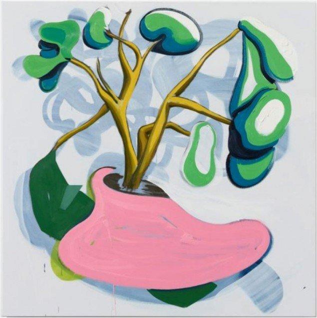 Morten Buch: Vase, olie på lærred, 200 x 200 cm, 2014, Courtesy Galerie MøllerWitt.