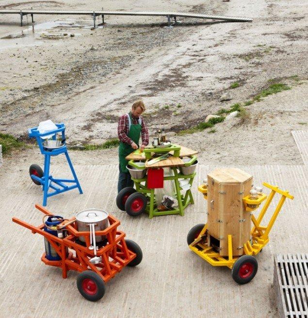 Et udvalg af Jesper Aabilles mobile køkkener. Urban Play, 2012. (Foto: Tuala Hjarnø)