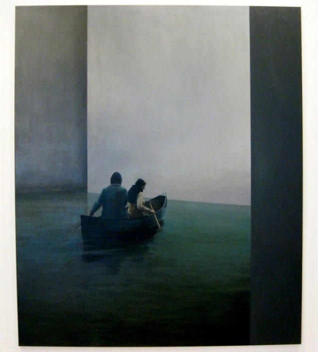To søgende sjæle padler mod lyset. Tim Eitel, Boot, 2004.  Courtesy Galerie EIGEN + ART Leipzig/Berlin and PaceWildenstein. Foto: Kasper Lie.