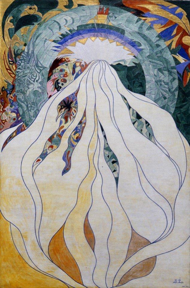 Jens Lund: Herrens Herlighed. 1899-1900. Olie på lærred og partielt belagt med bladguld. 188 x 124,5 cm. Foto: Vejen Kunstmuseum