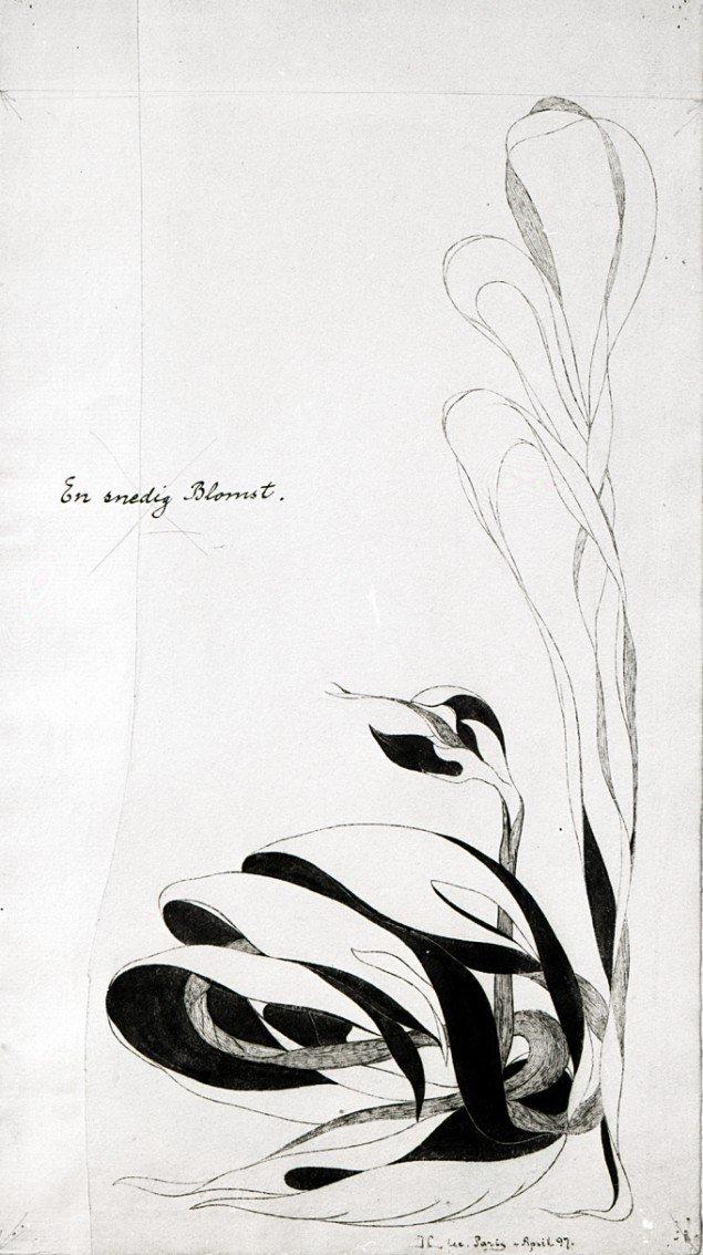 Jens Lund: Snedighed fra bogen Forvandlede Blomster, 1899. Pen og tusch på papir. 400 x 221 mm. Foto: Vejen Kunstmuseum