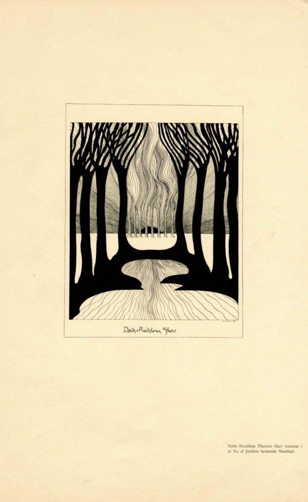 Jens Lund: Døds-Rædslens Skov fra bogen Livets Skove, 1901. Pen og tusch på papir. 660 x 507 mm. Foto: Vejen Kunstmuseum