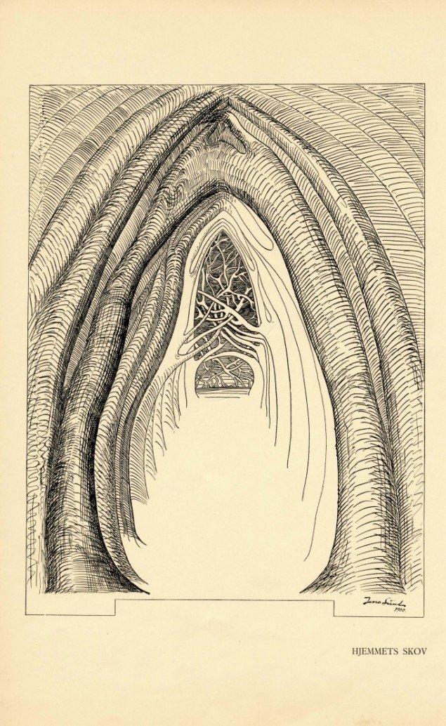 Jens Lund: Hjemmets Skov fra bogen Livets Skove, 1901. Pen og tusch på papir. 696 x 516 mm. Foto: Vejen Kunstmuseum