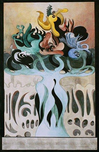 Jens Lund: Mon âme voltige sur les parfums... , 1901. Tusch og akvarel 63,7 x 47,5 cm. Foto: Vejen Kunstmuseum