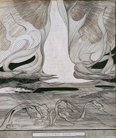 Jens Lund: Jacobs Syn. Genesis I.28., 1900. Pen og tuschlavering. Collage 66,1 x 55,5 cm. Foto: Vejen Kunstmuseum