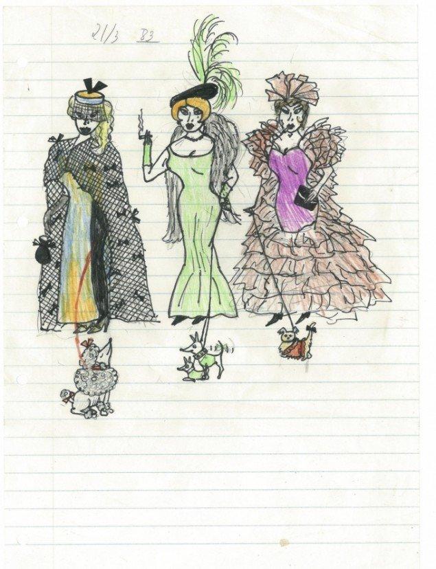 Julie Nord 81970) tegnede i sin fritid monstre og fine damer - her en tegning fra 1983 (13 år). Foto: Trapholt