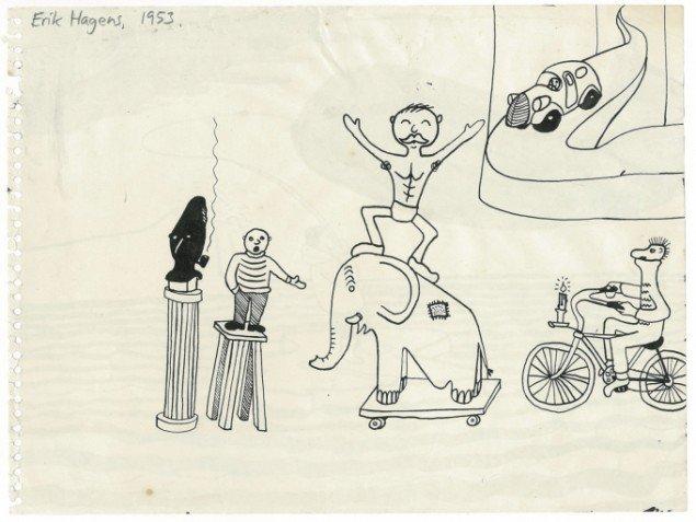 det er blandt andet inspirationen fra Storm P. ́s gakkede univers, der ligger til grund for Erik Hagens kunstneriske løbebane. Børnetegning af Erik Hagens. Foto: Trapholt