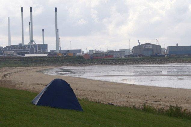 Det blå telt indgår i Traces of Time. Foto: Anja Møller Pedersen
