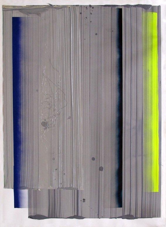 Ruth Campau: NY Vinyls (between grey layers), 2014 akryl på mylar, polyester, foile, 150 cm x 110 cm. Foto: Ruth Campau