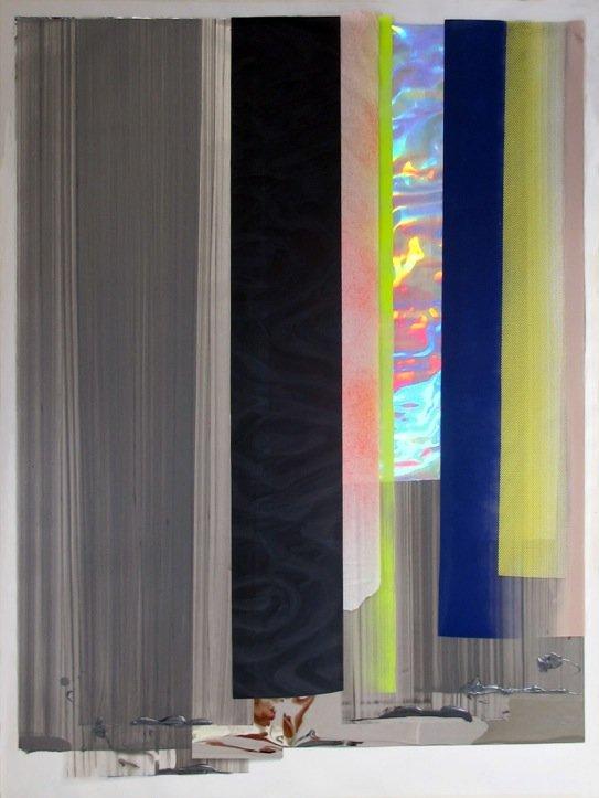 Ruth Campau: NY Vinyls (wild stroke), 2014 akryl på mylar, polyester, foile, 150 cm x 110 cm. Foto: Ruth Campau