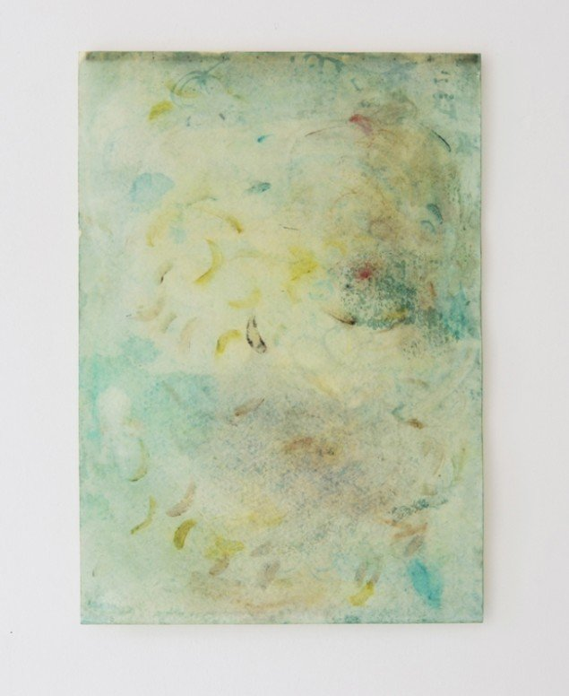 Johanne Skovbo Lasgaard: Malachite, 2014. Pigment og olie på papir, 100 x 70 cm. På The Order of Things, Marie Kirkegaard Gallery. Foto: Marie Kirkegaard Gallery