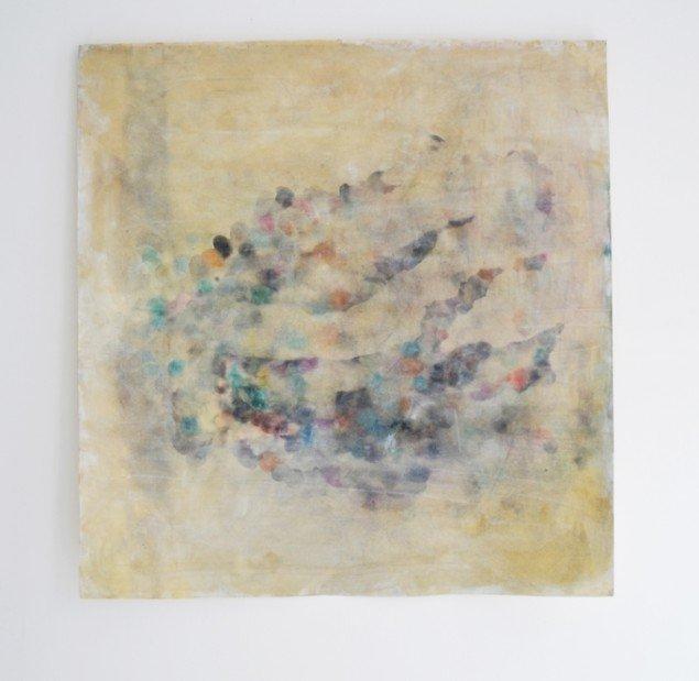 Johanne Skovbo Lasgaard: Breathings, 2014. Akryl, pigment og olie på papir, 114 x 110 cm. På The Order of Things, Marie Kirkegaard Gallery. Foto: Marie Kirkegaard Gallery