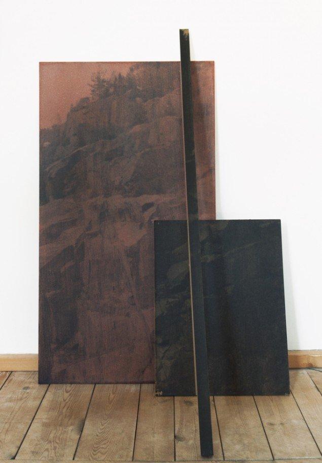 Ditte Knus Tønnesen: Tinderstick, 2014. Fotografisk emulsion og lak på MDF bræt, 112 x 75 x 45 cm. På Indre og ydre landskaber, Fotografisk Center i Museumbygningen. Foto: Ditte Knus Tønnesen