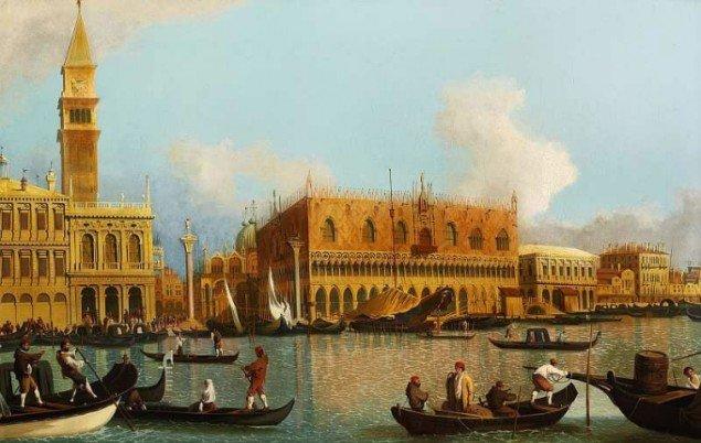 Fra Canalettos værksted: Gondoler på Canal Grande foran Dogepaladset og Campanilen i Venedig. 18.-19. årh. Privateje. Pressefoto.