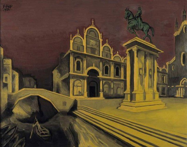 J.F. Willumsen: Pladsen SS. Giovanni e Paolo, Venedig. Nat, 1931. Olie på lærred, 73 x 92 cm. J. F. Willumsens Museum © J. F. Willumsen/billedkunst.dk. Foto: Hans Ole Madsen.