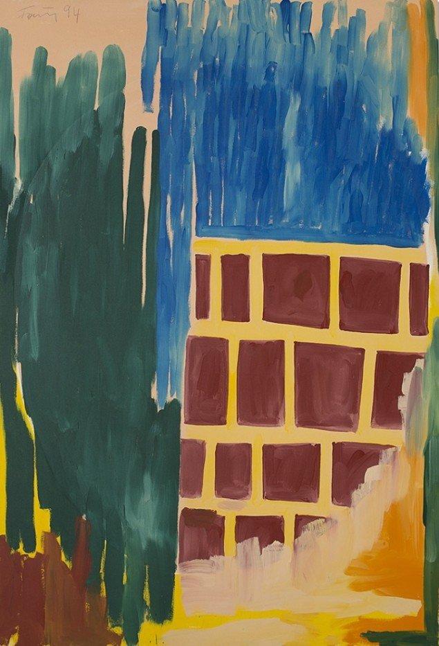 Günther Förg: Untitled, 1994. Olie på lærred, 220 x 140 cm. På Ubuntu, Galerie Mikael Andersen. Foto: Jan Søndergaard