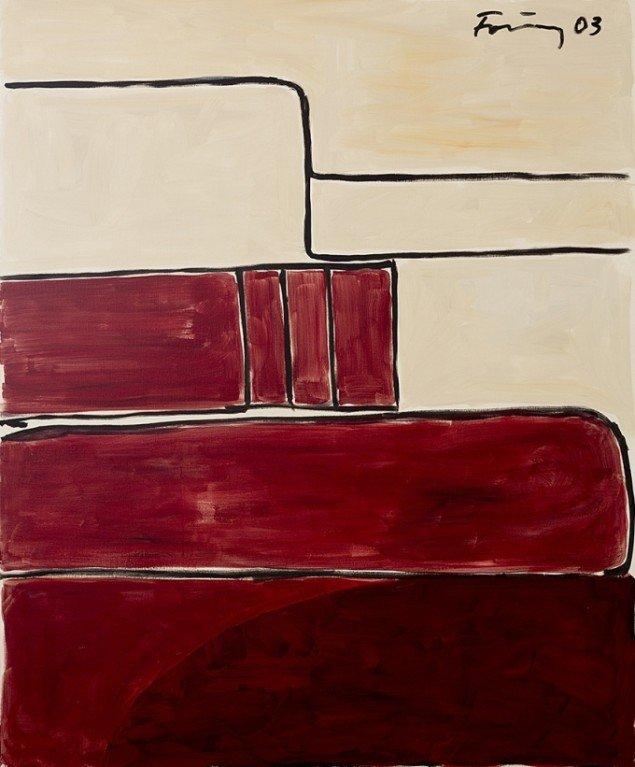 Günther Förg: Untitled, 2003. Olie på lærred, 180 x 150 cm. På Ubuntu, Galerie Mikael Andersen. Foto: Jan Søndergaard