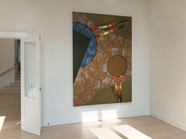 Lisbeth Eugenie Christensen: Botanik, 2014. Akryl og olieblyant på lærred, 255 x 180 cm. Udstillingsview fra Crystalline, Galleri DGV. Foto: Per Ahlmann