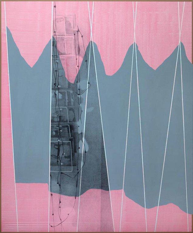 Lisbeth Eugenie Christensen: Home Suite, 2014. Akryl og blyant på lærred, 230 x 190 cm. På Crystalline, Galleri DGV. Foto: Per Ahlmann