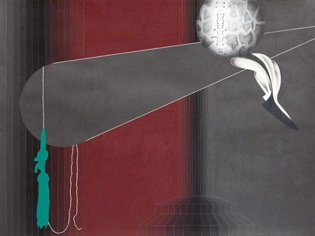 Lisbeth Eugenie Christensen: Act I, 2014. Akryl og blyant på papir, 120 x 160 cm. På Crystalline, Galleri DGV. Foto: Per Ahlmann