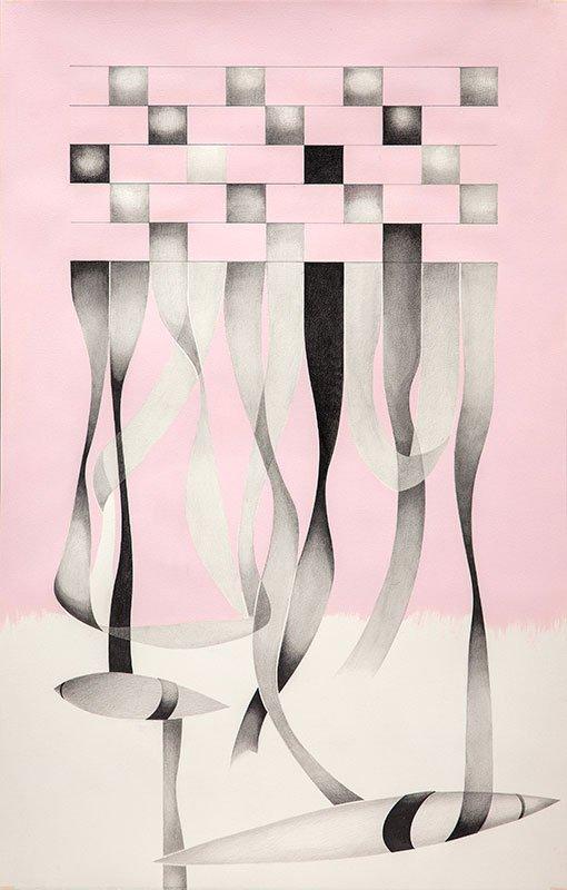 Lisbeth Eugenie Christensen: Ethnic III-II, 2014. Akryl og blyant på papir, 120 x 80 cm. På Crystalline, Galleri DGV. Foto: Per Ahlmann