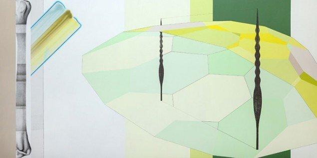 Lisbeth Eugenie Christensen: Status, 2014. Akryl og blyant på lærred, 150 x 300 cm. På Crystalline, Galleri DGV. Foto: Per Ahlmann