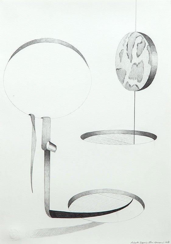 Lisbeth Eugenie Christensen: Skitse/Untitled I, 2014. Blyant på papir, 42 x 29,7 cm. På Crystalline, Galleri DGV. Foto: Per Ahlmann