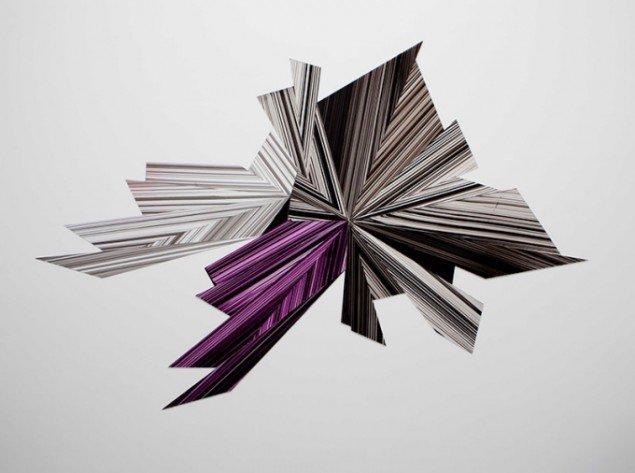 Ruth Campau: Diamond (Black, grey, purpel), 2011. Akryl på akrylplade og spejlakryl,  224 x 342 cm. På Crystalline, Galleri DGV. Foto: Michael Mørk