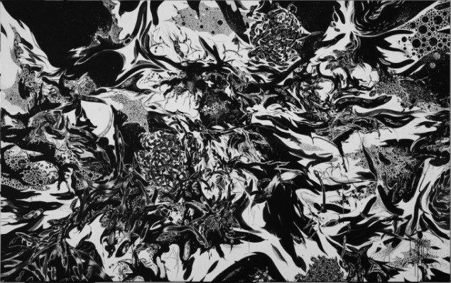 Christian Vind: Uden titel, 2012. Akryl, olie og gouache på lærred. 150x350 cm. Tilhører Aarhus Kommunehospital. Foto: Anders Sune Berg.