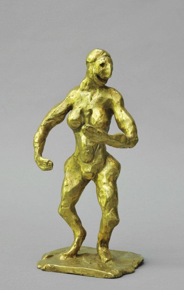 Bjørn Nørgaard: Eufrosyne, 2014. Lueforgylde bronze, 24 x 12 x 10 cm. På TREUDDK, Galleri Susanne Ottesen. Foto: Galleri Susanne Ottesen