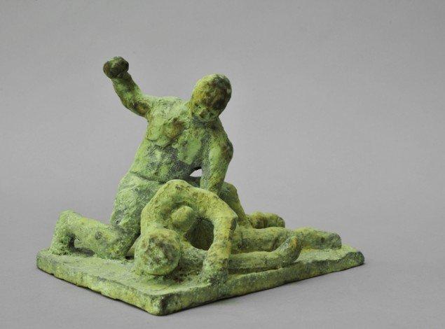 Bjørn Nørgaard: Fighting, 2014. Bronze, 15 x 20 x 16 cm. På TREUDDK, Galleri Susanne Ottesen. Foto: Galleri Susanne Ottesen