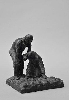 Bjørn Nørgaard: Kvinde og mand, 2014. Bronze, 18 x 16 x 19 cm. På TREUDDK, Galleri Susanne Ottesen. Foto: Galleri Susanne Ottesen