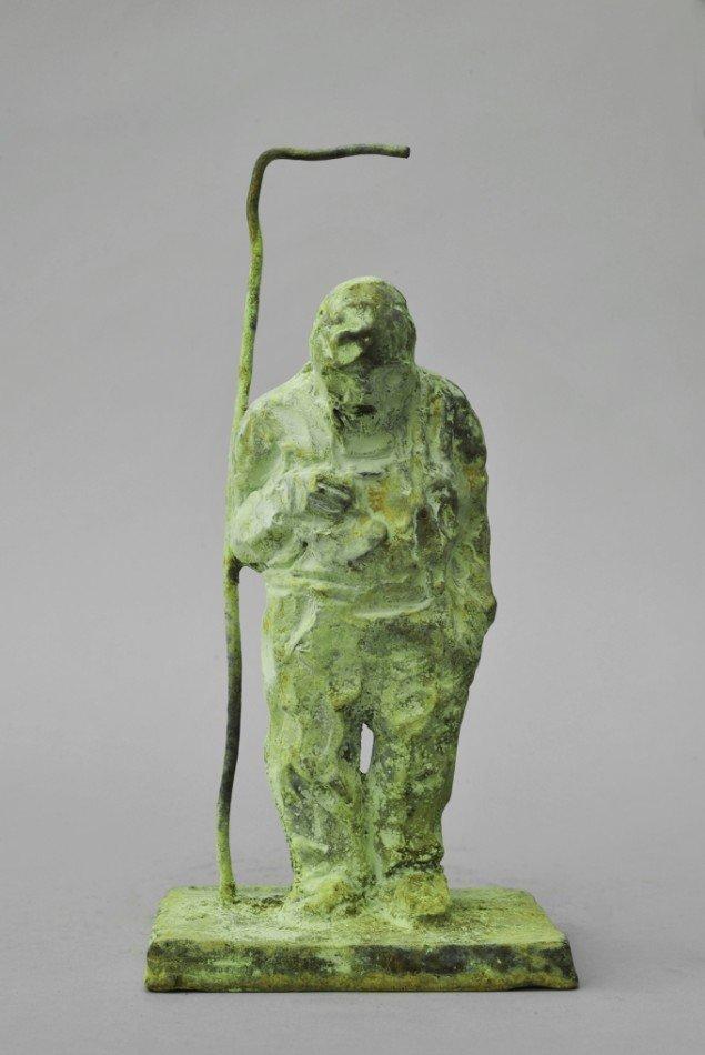 Bjørn Nørgaard: Mand i dør, 2014. Bronze, 22 x 10 x 8 cm. På TREUDDK, Galleri Susanne Ottesen. Foto: Galleri Susanne Ottesen